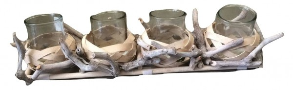 Houten Kaarsenhouder ,4Glazen Wit Washed L50W15H9