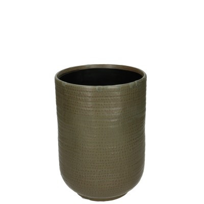 Ceramic Vase Alezio Round Rustique Green D14H20