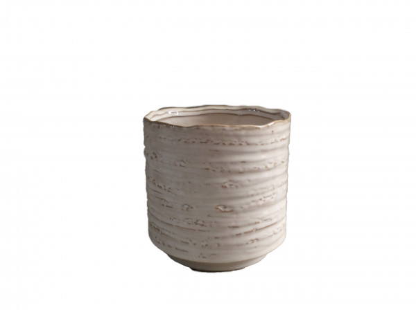 Ceramic Pot Luson Round White D10,5H11,5