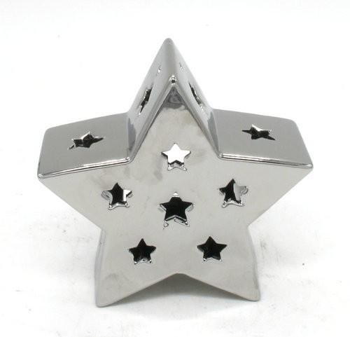 Keramik Sterne Teelichtständer Silber L17W7H16