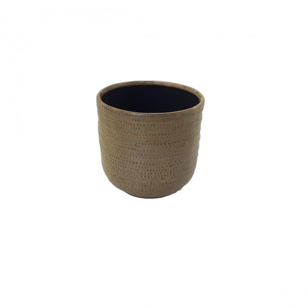 Ceramic Pot Alezio Round Rustique Ochre D13H13