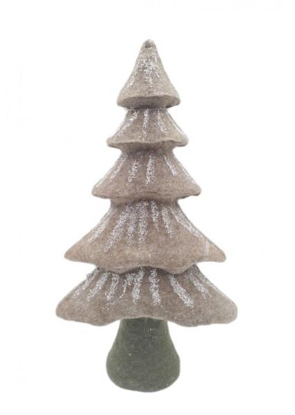 FABRIC XMAS TREE BROWN W18H33