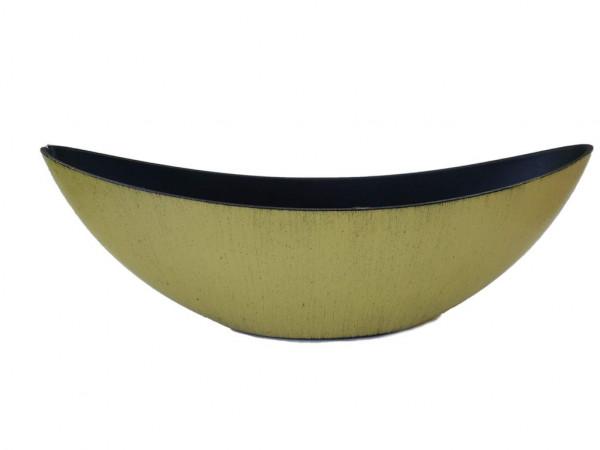 Melamine Planter Oval Hg Matt Yellow W/Black Wash L39W12H13