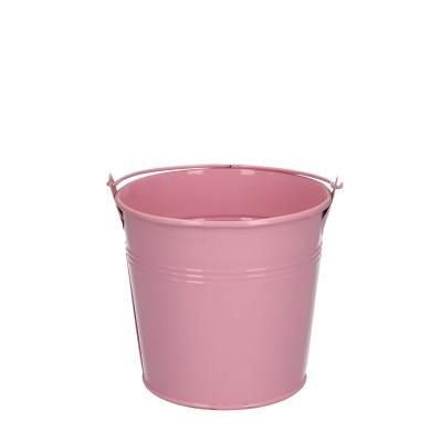 Zinc bucket d12.5*11.5cm pink