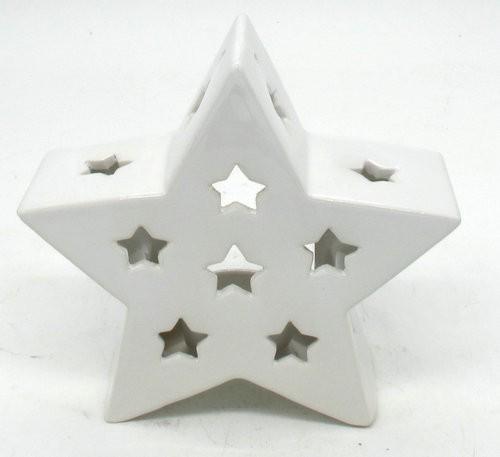 Keramik Sterne Teelichtständer - Weiss L20W7H19