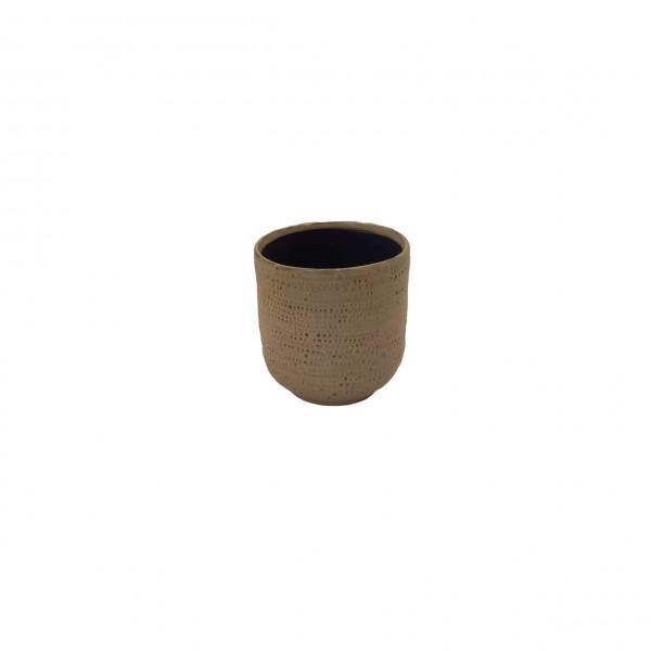 Ceramic Pot Alezio Round Rustique Ochre D10H11
