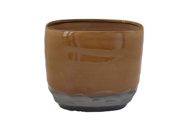 Ceramic Planter Dolo Oval L.Brown/Grey L26.5W14.5