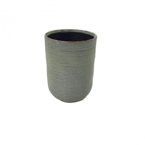 Ceramic Vase Alezio Round Rustique Pistache D14H20