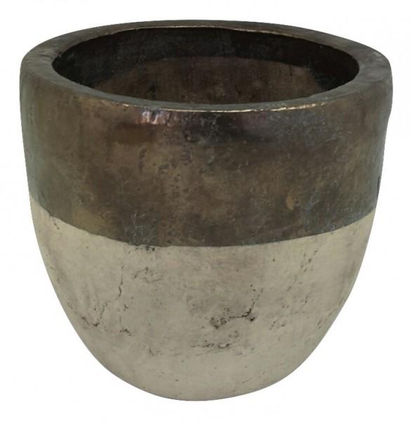 Ceramic Pot Sardara Round Bronze/Cream D26H27