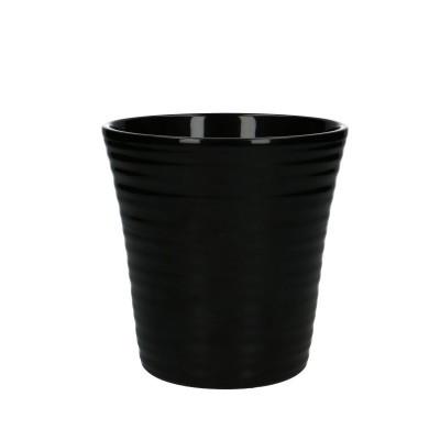 Phal.pot ribbed d13*13cm black