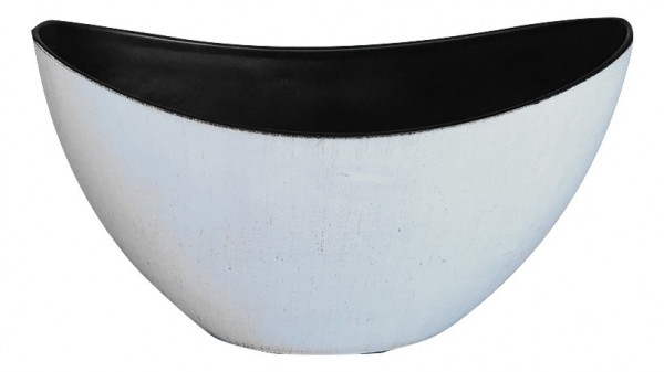 Melamine Boat Oval Matt White W/Black Wash L24W10H14