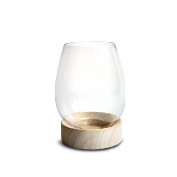 Glass Vase On Wood Base H16D11