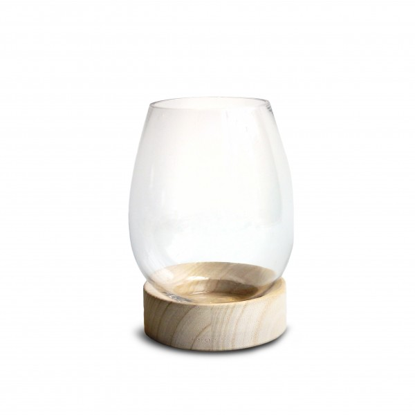 Glas Vase On Holz Fuss H18D14