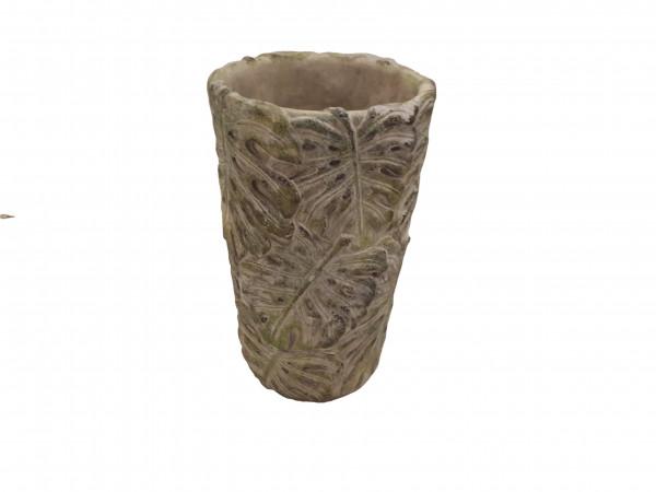 Cement Vase Leaf Green D11,5H18