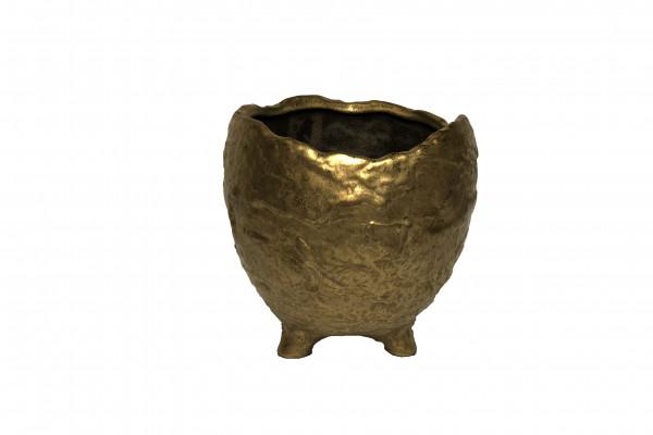 CERAMIC POT W/LEGS GAETA ROUND GOLD D21.5H21