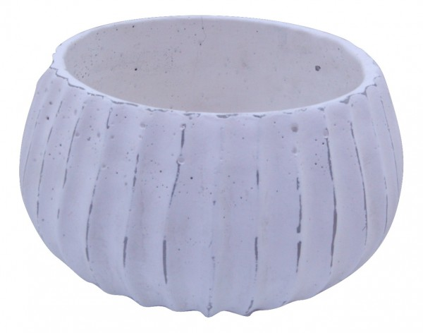 Cement Planter Doues Round White D30H16