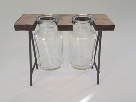 Metal Stand With Wood W.2Glass Natural L20,5W8H17