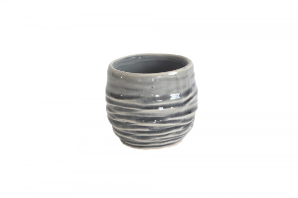 Ceramic Pot Breno Round Grey/White D8H7