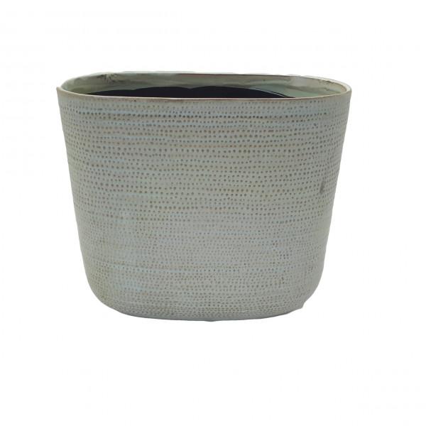 Ceramic Planter Alezio Oval Rustique Pistache L27W13H24