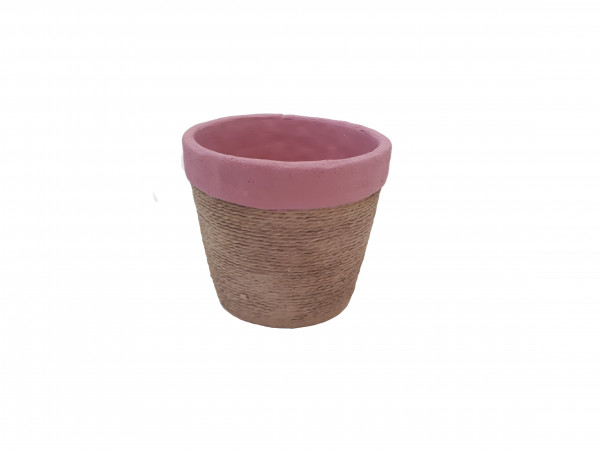 Cement Pot Round Cembra Pink/Rope D14H12,5