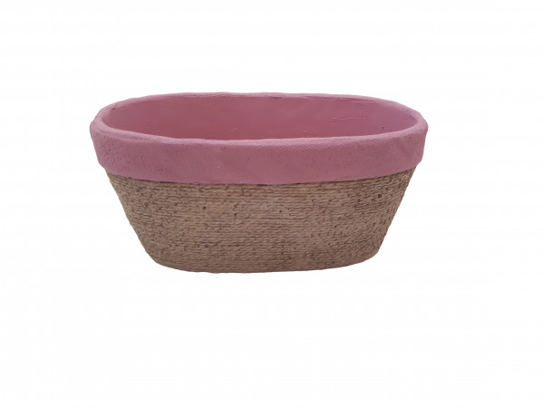 Cement Planter Oval Cembra Pink/Rope L17W10,5H9