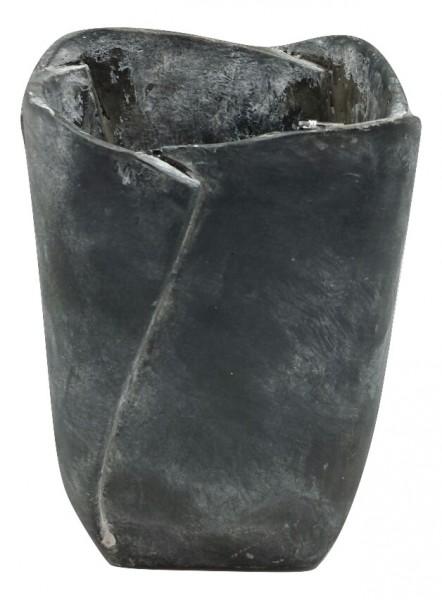 Zement Vase Ivrea Viereckig Dunkel Antik W16H22