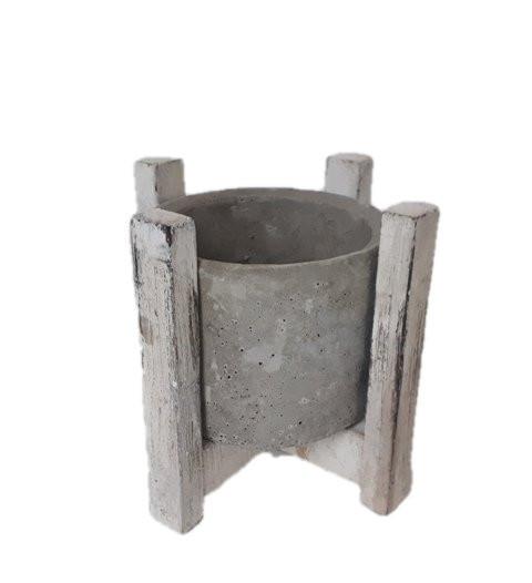 Zement Topf mit Holz St?nder Rund D15H13