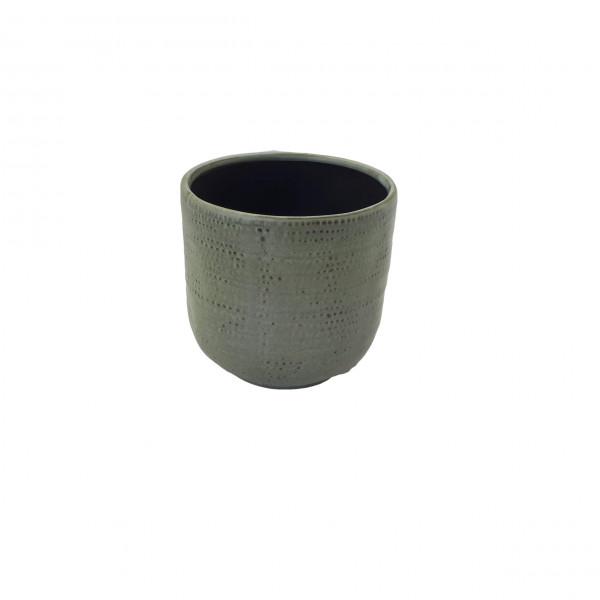 Ceramic Pot Alezio Round Rustique Pistache D13H13