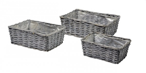 Basket Low Rectangle Antracite 33X25X13 Set 3