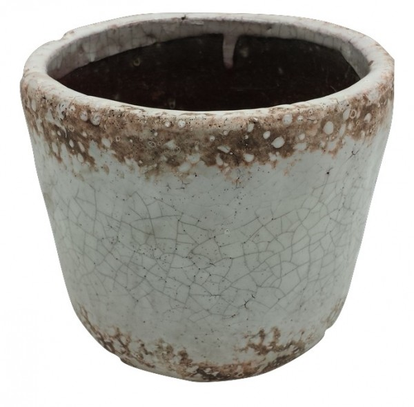 Ceramic Pot Biella Round White Washed D20H18,5 Piece