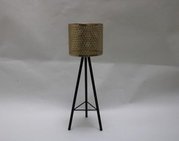 Metalen standaard M/1Goud Pot Zwart L17.5W16H52.5