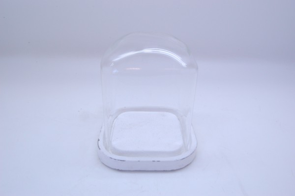 Cement Tray Met Glas Marzio Antique D14,5H15,5
