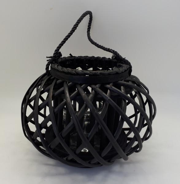 Lantern With Glass Black D32H2