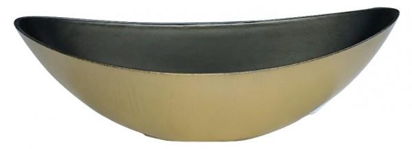 Melamine Planter Oval High Matt Gold/Brown Wash L39W12H13