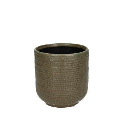 Ceramic Pot Alezio Round Rustique Green D10H11