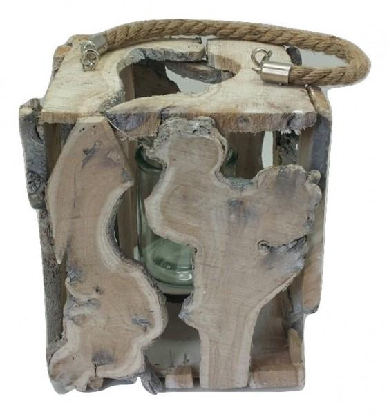 Wooden Lantern White Washed L24W24H35