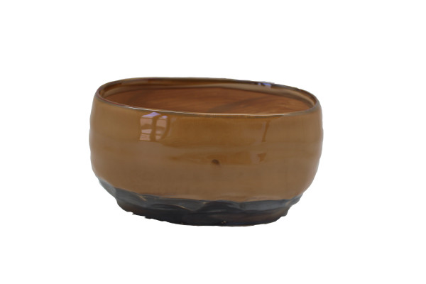 Ceramic Planter Dolo Oval L.Brown/Grey L20.5W12.5H11