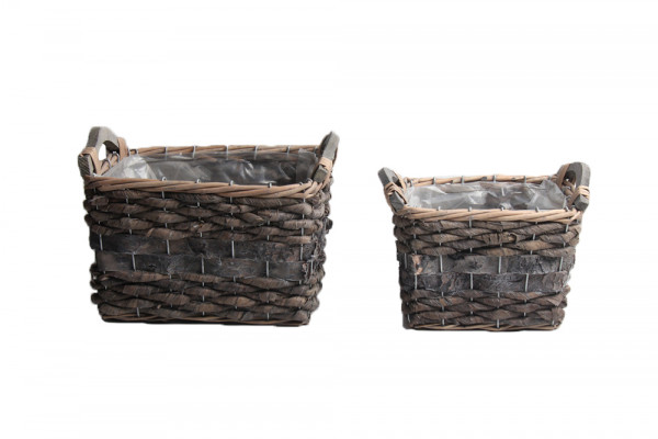 Banana Leaf And Birch Bark Basket W/Wd Handles Rectangle Grey L23W15H18.5 S2