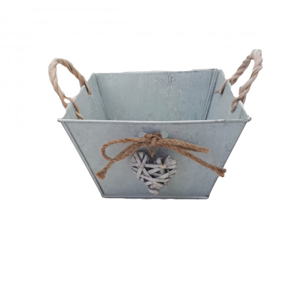Zinc Planter With Handle And Heart Square White Washed L22H16,5