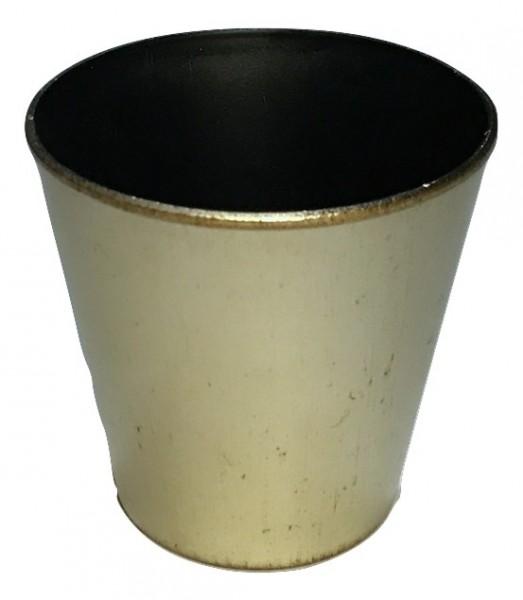 Melamine Pot Round Matt Champagne/Brown Wash D13H13