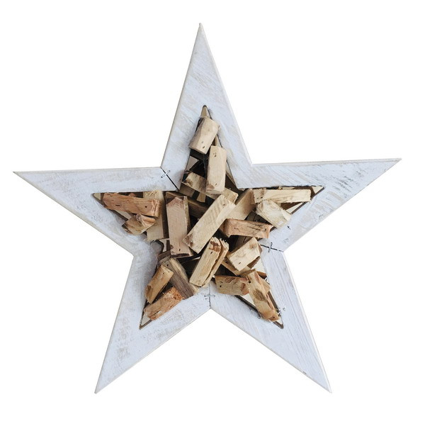 WOODEN STAR NATURAL/WHITE L40H8