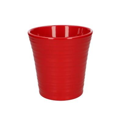 Keramiek Phal.pot ribbel d13*13cm rood