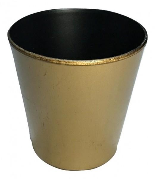 Melamine Pot Round Matt Gold/Brown Wash D15H13
