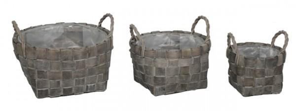 Basket Round Antracite D25H13 Set 3