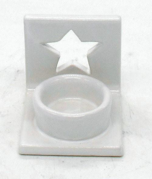 Keramik Teelichtständer Sterne Weiss L8W7H7