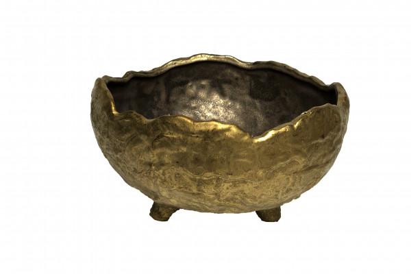 CERAMIC POT W/LEGS GAETA ROUND GOLD D24H13