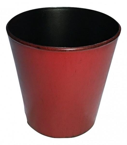 Melamine Pot Rnd.Matt Red W/Black Wash D13H13