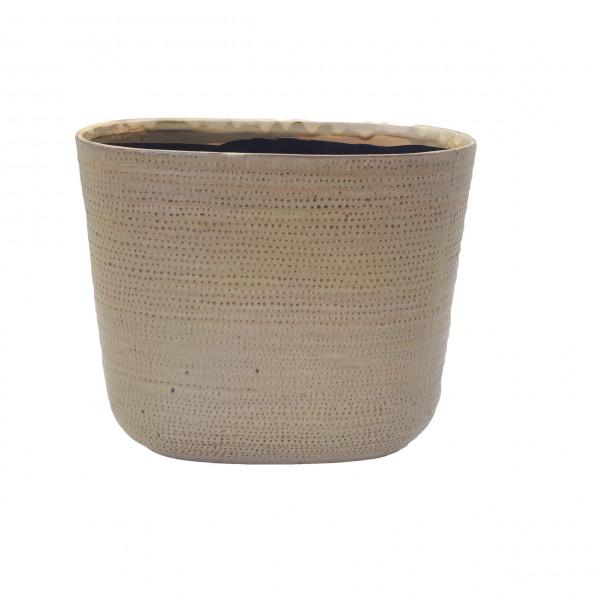 Ceramic Planter Alezio Oval Rustique Ochre L27W13H24