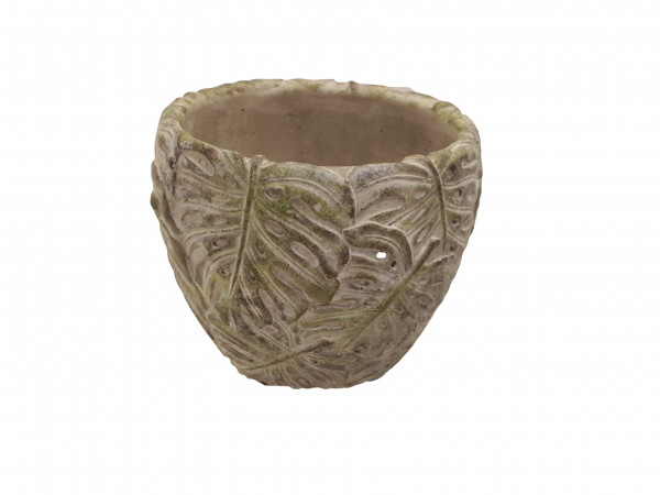 Cement Pot Leaf Green D21H18,5