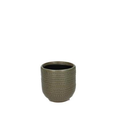 Ceramic Pot Alezio Round Rustique Green D7H7